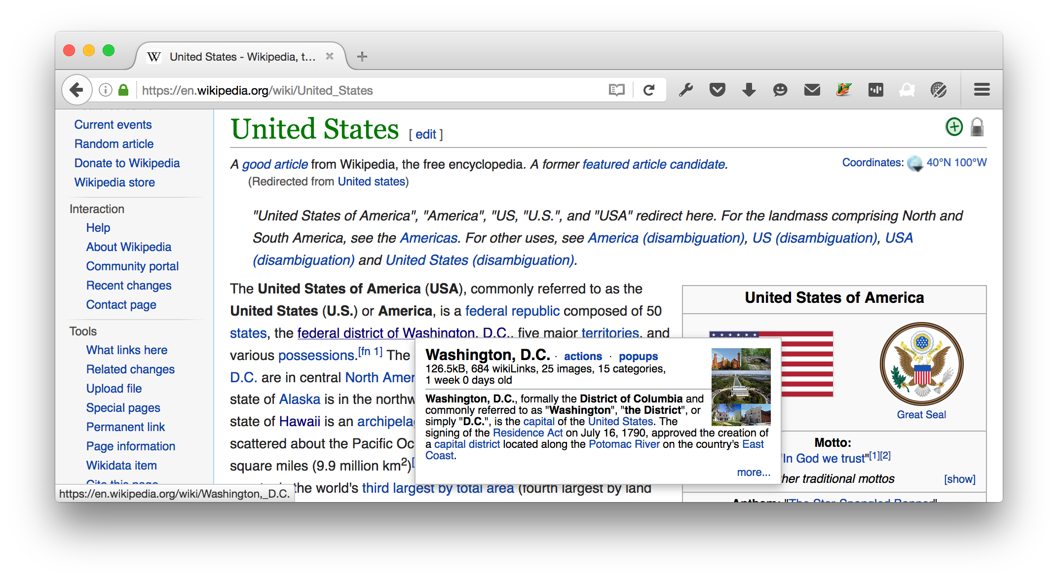 wikipedia link mouse-over shows next page pop-up
